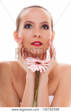 Wedding Day. Romantic Girl Bride With Pink Flower