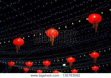 red chinese lantern and light at night