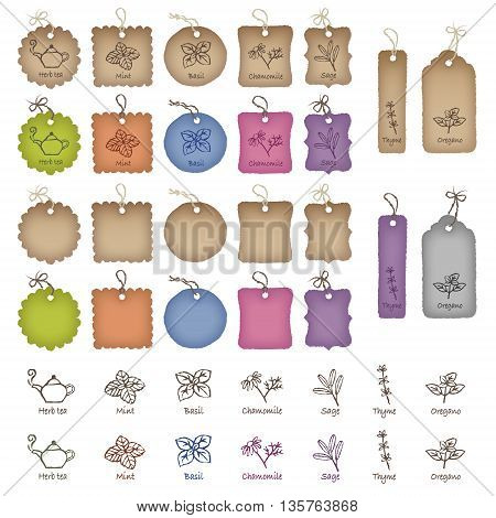 Product tags in various shapes and color herb and tea