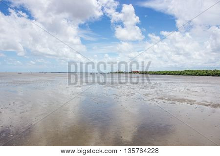 blue sky and white cloud on beach