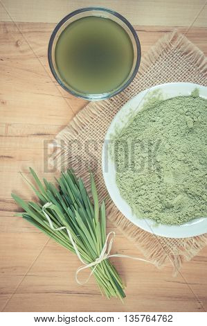Vintage Photo, Young Powder Barley And Barley Grass With Beverage, Body Detox