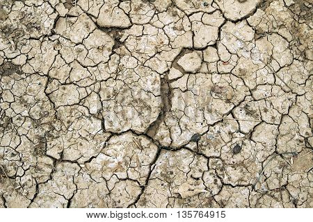 Dry brown ground cracked in hot area. Global warming