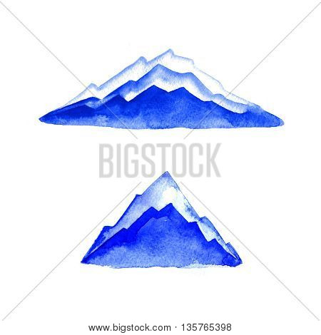 Mountains. Watercolor painting. Logo element. Illustration. Blue