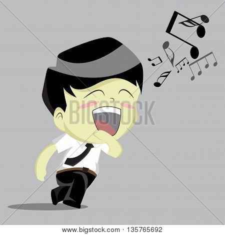 Businessman rushing singing.vector illustration. Cartoon isolated. Teenagers cartoon style