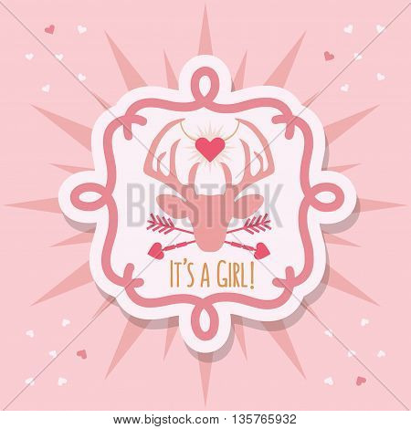 Cute pink baby girl deer emblem sticker and sunburst card with It's a girl message on pink confetti hearts background