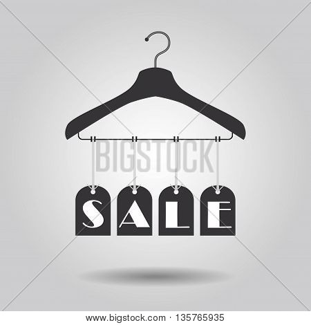 Hanging SALE signage banners icon on clothing hanger with gray gradient background
