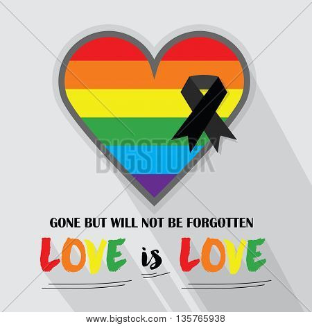Rainbow pride flag Pattern in shape of a heart with black ribbon with messages and long shadow on gray background