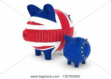 Uk Flag And Eu Flag Piggybanks Exchange Rate Concept 3D Illustration
