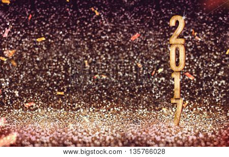 Happy New 2017 year(3d rendering) in vintage color abstract glitter background Holiday concept designLeave space for adding your content.