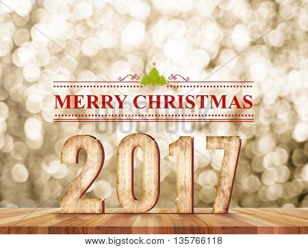Merry Christmas 2017(3d rendering) word in perspective room with gold sparkling bokeh lights and wooden plank floorleave space for display of product.