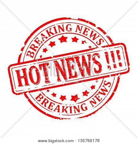 Scratched round red stamp with the words - hot news breaking news - vector