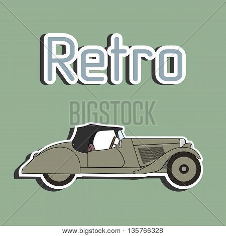 Retro car cabriolet sticker. Vector cartoon retro car sticker. Vintage old retro car sticker.