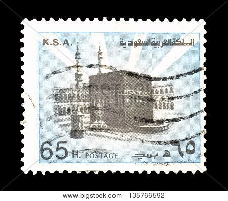 SAUDI ARABIA - CIRCA 1976 : Cancelled postage stamp printed by Saudi Arabia, that shows ancient monument.