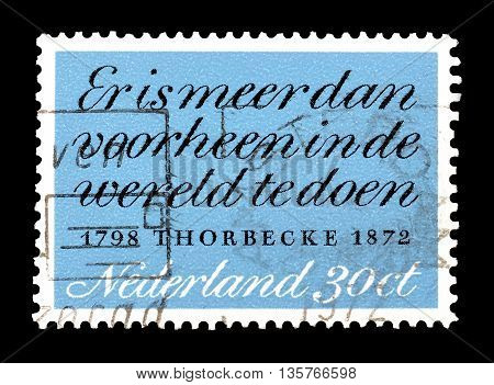 NETHERLANDS- CIRCA 1972 : Cancelled postage stamp printed by Netherlands, that shows Thorbecke quotation.