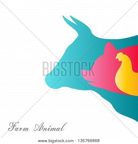 Vector group of animal farm on a white background / cow pig chicken. / Vector animal farm for your design.