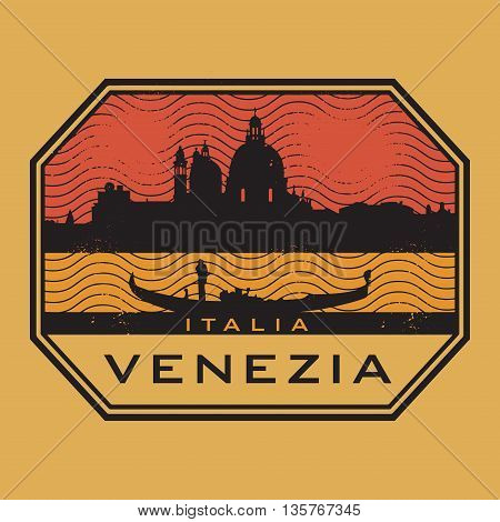 Grunge rubber stamp with the name of Venice, Italy, written inside vector illustration