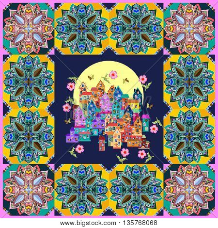 Bandana print or silk neck scarf. Square pattern design style for print on fabric. Colorful town in ornamental frame. Vector illustration.