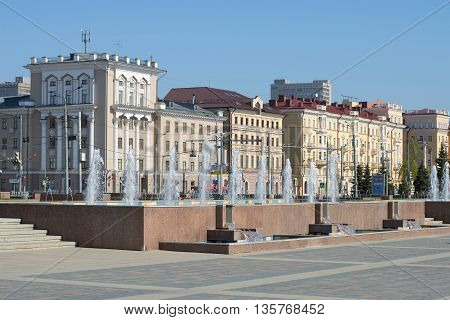 KAZAN, RUSSIA - MAY 02, 2016: Cascade of fountains in the background of the street Tatarstan. Tourist landmark of the city Kazan