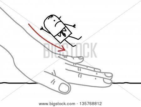 Big hand and  businessman - sliding down