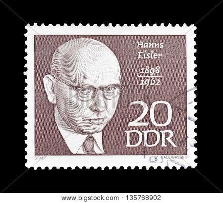 GERMAN DEMOCRATIC REPUBLIC - CIRCA 1968 : Cancelled postage stamp printed by German Democratic Republic, that shows Hanns Eisler.