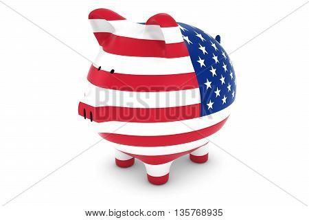 US Currency Concept - US Flag Piggy Bank 3D Illustration