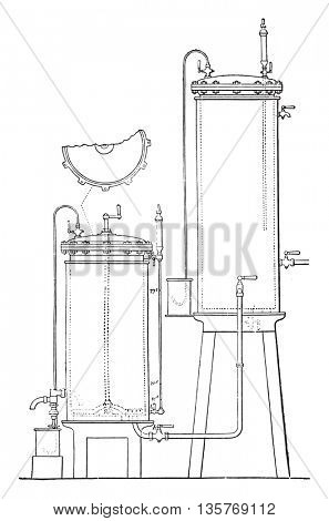Hansen apparatus for growing pure yeast, vintage engraved illustration. Industrial encyclopedia E.-O. Lami - 1875.