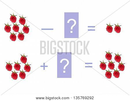 Cartoon illustration of mathematical addition and subtraction. Examples with raspberries. Educational game for children.