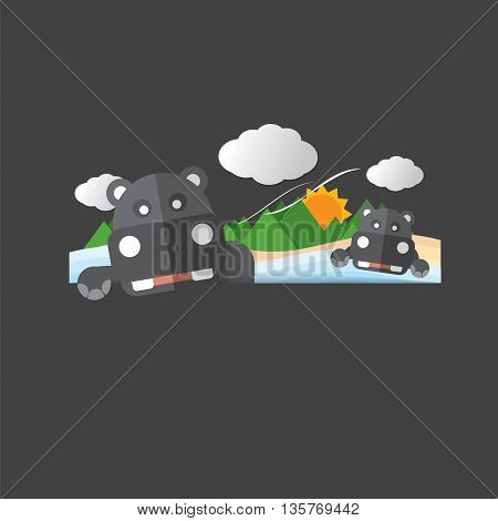 Cute Hippopotamus Portrait Vector Illustration. EPS 10