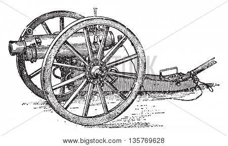 Canon of the English artillery mountain, vintage engraved illustration. Industrial encyclopedia E.-O. Lami - 1875.
