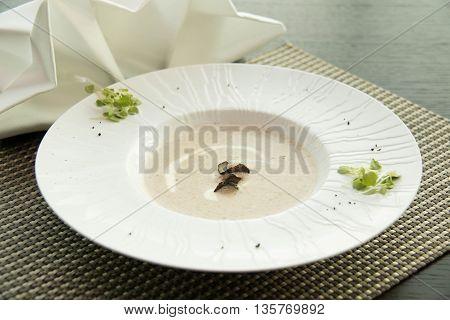 Cream of mushroom served in a plain ceramic bowl