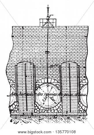 Elevation of a valve, vintage engraved illustration. Industrial encyclopedia E.-O. Lami - 1875.