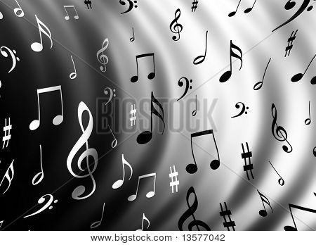 An illustration of a music notes background