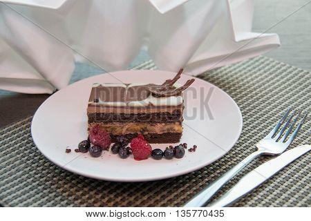 chocolate banana cake dessert with berry sweet delicious