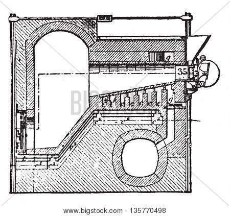 Furnace coke, Luhrmann system, vintage engraved illustration. Industrial encyclopedia E.-O. Lami - 1875.