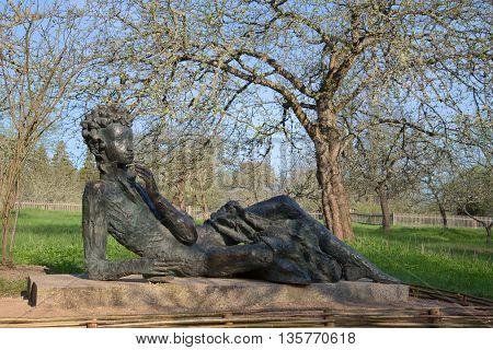 PSKOV REGION, RUSSIA - MAY 08, 2016: Sculpture