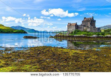 Lochash Scotland - June 20 2012: Highlands, view of the Eilean Conan castle.
