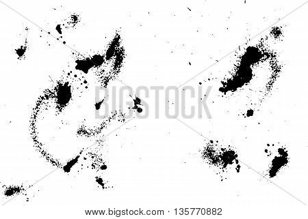 Hand-made grunge texture. Abstract ink drops background. Black and white grunge texture. Grunge texture. Vector watercolor grunge texture.