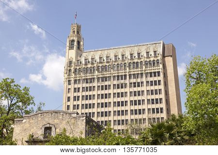 SAN ANTONIO USA - APR 11: The Emily Morgan Hotel building in the city of San Antonio. April 11 2016 in San Antonio Texas United States