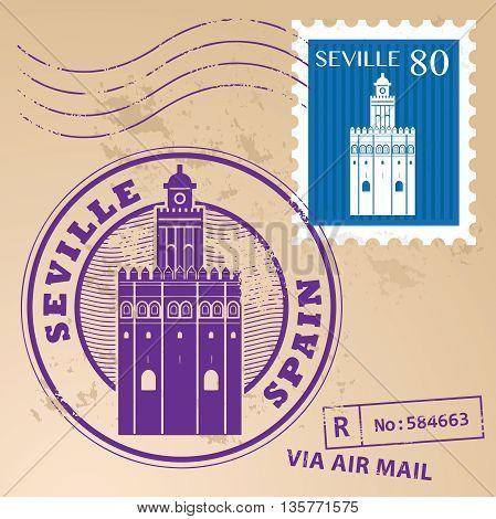 Grunge rubber stamp set with words Seville, Spain inside, vector illustration