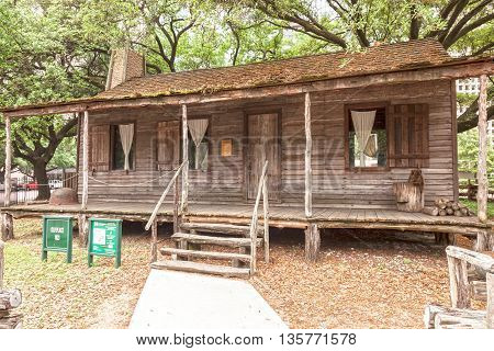 HOUSTON USA - APR 12: Wooden 1823 Old Place building at the Sam Houston Park. April 12 2016 in Houston Texas United States