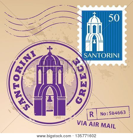 Grunge rubber stamp set with the name of Santorini, Greece written inside the stamp, vector illustration