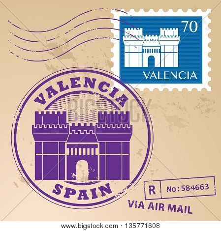 Grunge rubber stamp set with words Valencia, Spain inside, vector illustration