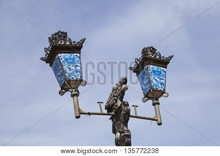 Vintage street lamp in Imperial forbidden city in Hue city, Vietnam.