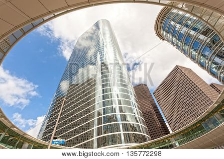 HOUSTON USA - APR 14: Wells Fargo Plaza Skyscraper in Houston Downtown Skyline District. April 14 2016 in Houston Texas United States