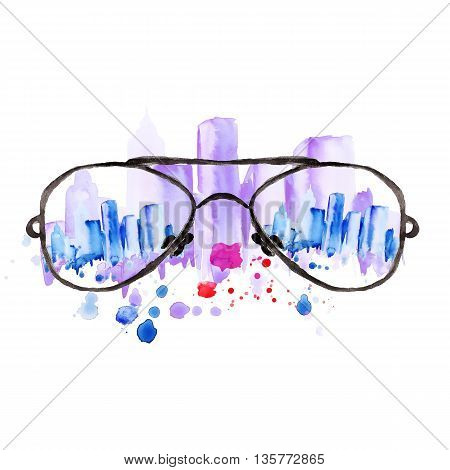 Watercolor vintage glasses New York with drops and splash hand-drawn illustration