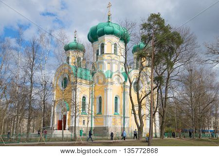 GATCHINA, RUSSIA - APRIL 24, 2016: The Cathedral of St. Paul the Apostle in Gatchina, sunny april day. Religious landmark  of the city Gatchina, Leningrad region