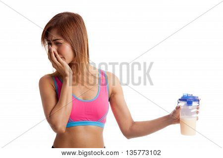 Beautiful Asian Healthy Girl Hate Whey Protein