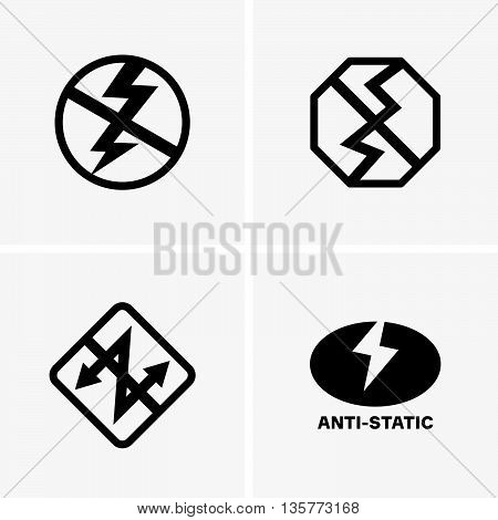Set of four anti-static icons on grey background