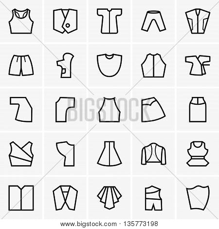 Set of dress patterns on grey background