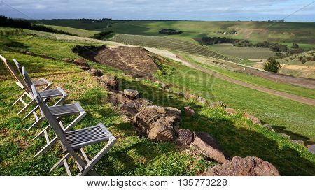 Australia vineyard with chairs beautiful green scenary
